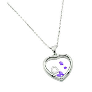 Sterling Silver Birthstones Heart Necklace - Jun